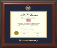 Cherry Satin Stamp Seal Navy & Gold Matting Single Opening Frame
